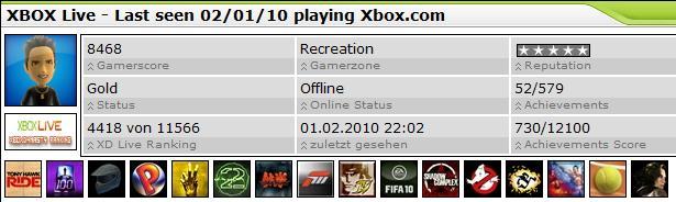 Xboxdynasty Profil Update für Xbox LIVE Spieler