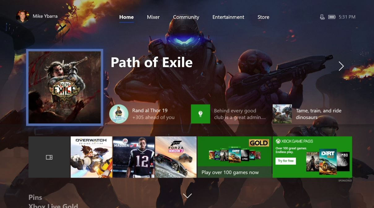 Xbox One Startseite