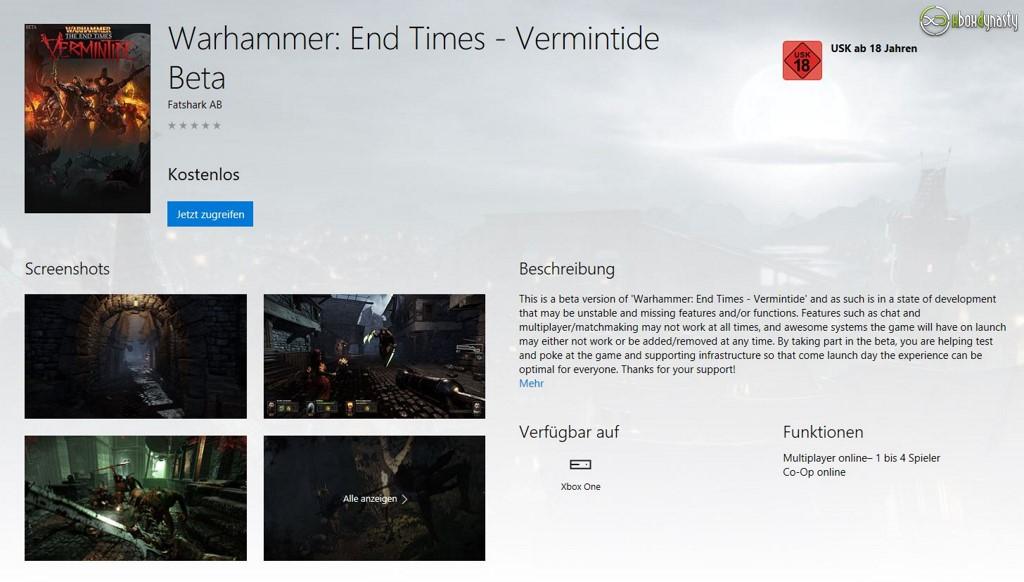 Warhammer: End Times Vermintide: Kostenlose Xbox One Beta im Store aufgetaucht